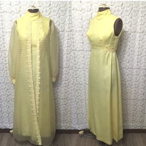 Lemon yellow maxi dress with sheer coverup